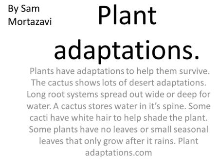 Plant adaptations. Plants have adaptations to help them survive. The cactus shows lots of desert adaptations. Long root systems spread out wide or deep.