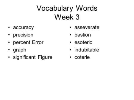 Vocabulary Words Week 3 accuracy precision percent Error graph significant Figure asseverate bastion esoteric indubitable coterie.