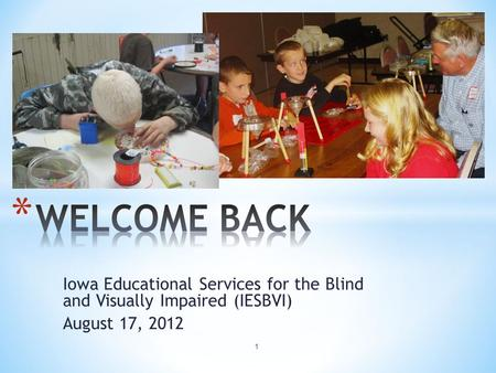Iowa Educational Services for the Blind and Visually Impaired (IESBVI) August 17, 2012 1.