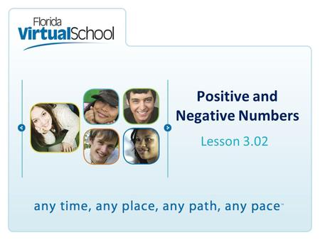 Positive and Negative Numbers Lesson 3.02. After completing this lesson, you will be able to say: I can use positive and negative numbers to represent.