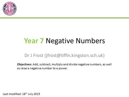 Year 7 Negative Numbers Dr J Frost