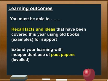 Learning outcomes You must be able to …….. Recall facts and ideas that have been covered this year using old books (examples) for support Extend your learning.