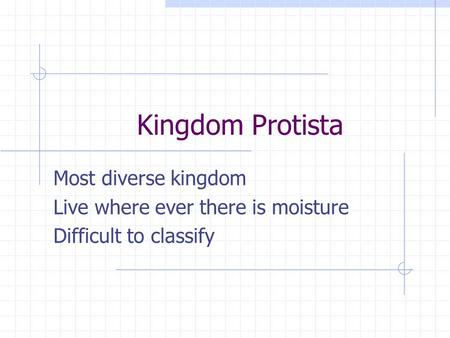 Kingdom Protista Most diverse kingdom Live where ever there is moisture Difficult to classify.