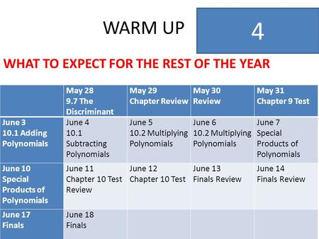 WARM UP WHAT TO EXPECT FOR THE REST OF THE YEAR 4 May 28 9.7 The Discriminant May 29 Chapter Review May 30 Review May 31 Chapter 9 Test June 3 10.1 Adding.