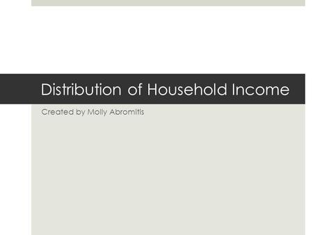 Distribution of Household Income Created by Molly Abromitis.