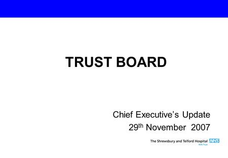 Chief Executive's Update 29 th November 2007 TRUST BOARD.