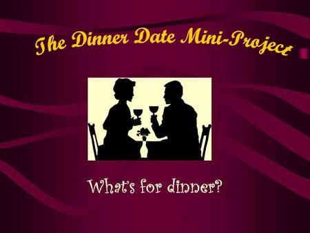 What's for dinner?. Project Targets I will effectively plan a menu for a dinner date keeping within a budget (including tax). I will compare prices of.