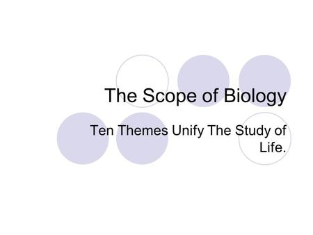 Ten Themes Unify The Study of Life.