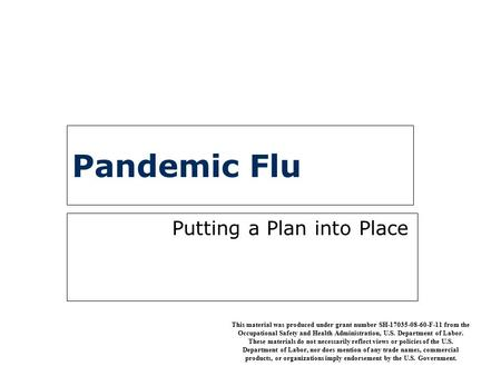 Pandemic Flu Putting a Plan into Place This material was produced under grant number SH-17035-08-60-F-11 from the Occupational Safety and Health Administration,