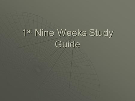 1 st Nine Weeks Study Guide. Standard 1 (Glassware, Measurements, Instruments) Light Microscope Electron Microscope Magnification power 1500500,000 Method.