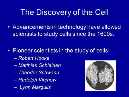 The Discovery of the Cell Advancements in technology have allowed scientists to study cells since the 1600s. Pioneer scientists in the study of cells:
