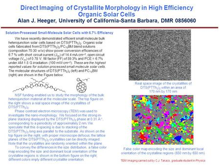 Direct Imaging of Crystallite Morphology in High Efficiency Organic Solar Cells Alan J. Heeger, University of California-Santa Barbara, DMR 0856060 Solution-Processed.