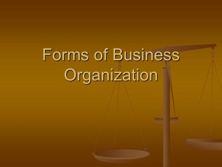 Forms of Business Organization. 2 For Discussion What kind of business would you like to start? What kind of business would you like to start?