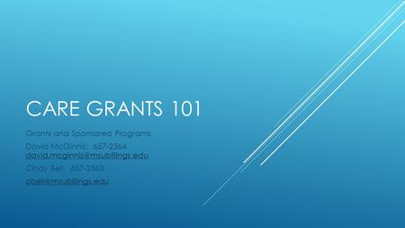 CARE GRANTS 101 Grants and Sponsored Programs David McGinnis: 657-2364  Cindy Bell: 657-2363.
