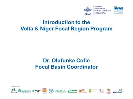 Introduction to the Volta & Niger Focal Region Program Dr. Olufunke Cofie Focal Basin Coordinator.