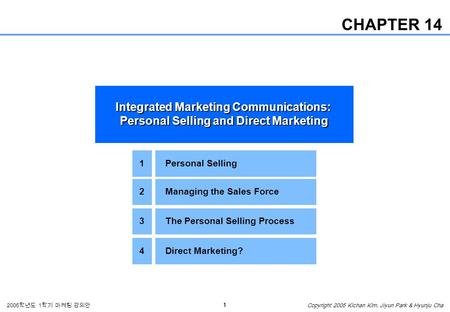 1 2005 학년도 1 학기 마케팅 강의안 Copyright 2005 Kichan Kim, Jiyun Park & Hyunju Cha CHAPTER 14 Integrated Marketing Communications: Personal Selling and Direct.