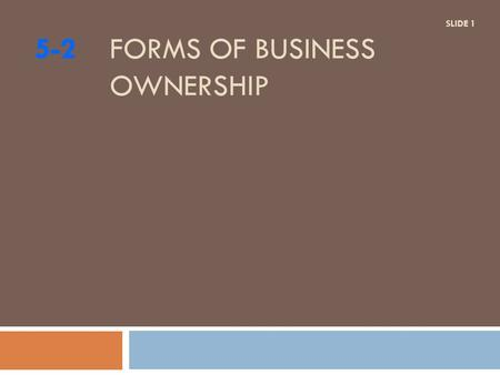 5-2 FORMS OF BUSINESS OWNERSHIP SLIDE 1. DO NOW?  Are you interested in owning your own business?  Why?/Why Not?