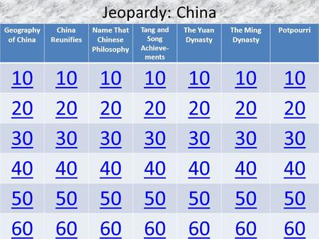 Jeopardy: China Geography of China China Reunifies Name That Chinese Philosophy Tang and Song Achieve- ments The Yuan Dynasty The Ming Dynasty Potpourri.