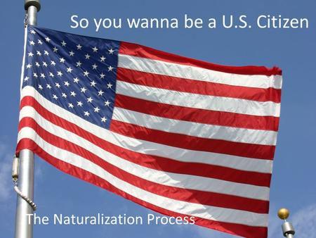 So you wanna be a U.S. Citizen The Naturalization Process.