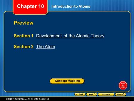 Chapter 10 Introduction to Atoms Preview Section 1 Development of the Atomic TheoryDevelopment of the Atomic Theory Section 2 The AtomThe Atom Concept.
