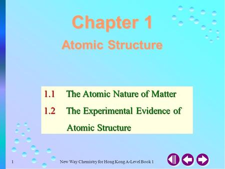 New Way Chemistry for Hong Kong A-Level Book 11 Atomic Structure 1.1The Atomic Nature of Matter 1.2The Experimental Evidence of Atomic Structure Atomic.
