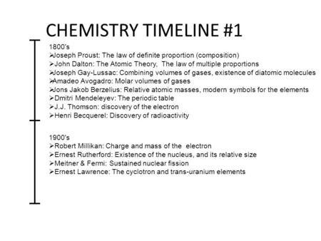 CHEMISTRY TIMELINE #1 1800's Joseph Proust: The law of definite proportion (composition) John Dalton: The Atomic Theory, The law of multiple proportions.