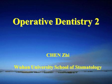 CHEN Zhi Wuhan University School of Stomatology