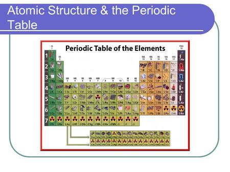Atomic Structure & the Periodic Table. Democritus (460-370 BC) The first to propose that matter was not infinitely indivisible Believed that matter was.