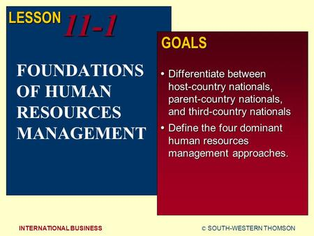 © SOUTH-WESTERN THOMSONINTERNATIONAL BUSINESS LESSON11-1 GOALS  Differentiate between host-country nationals, parent-country nationals, and third-country.