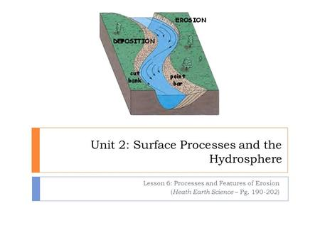 Unit 2: Surface Processes and the Hydrosphere Lesson 6: Processes and Features of Erosion ( Heath Earth Science – Pg. 190-202)