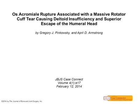 Os Acromiale Rupture Associated with a Massive Rotator Cuff Tear Causing Deltoid Insufficiency and Superior Escape of the Humeral Head by Gregory J. Pinkowsky,