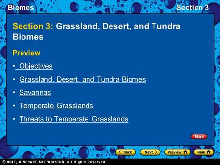 Section 3: Grassland, Desert, and Tundra Biomes