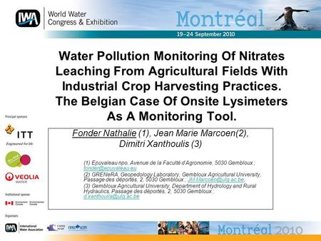 Water Pollution Monitoring Of Nitrates Leaching From Agricultural Fields With Industrial Crop Harvesting Practices. The Belgian Case Of Onsite Lysimeters.