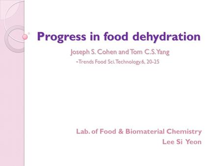 Lab. of Food & Biomaterial Chemistry Lee Si Yeon