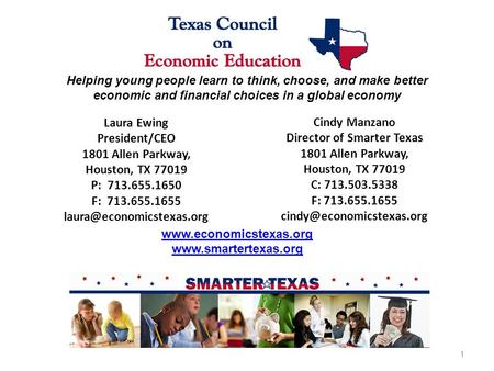 Laura Ewing President/CEO 1801 Allen Parkway, Houston, TX 77019 P: 713.655.1650 F: 713.655.1655 Helping young people learn to.