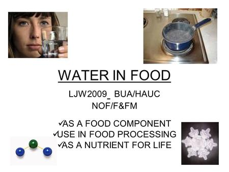 WATER IN FOOD LJW2009 BUA/HAUC NOF/F&FM AS A FOOD COMPONENT USE IN FOOD PROCESSING AS A NUTRIENT FOR LIFE.