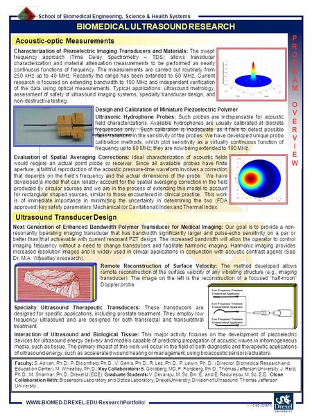 School of Biomedical Engineering, Science & Health Systems WWW.BIOMED.DREXEL.EDU/ResearchPortfolio/ V 1.0 SD [020307] BIOMEDICAL ULTRASOUND RESEARCH Acoustic-optic.