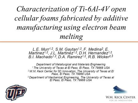 Characterization of Ti-6Al-4V open cellular foams fabricated by additive manufacturing using electron beam melting L.E. Murr 1,2, S.M. Gaytan 1,2, F. Medina.