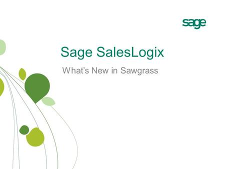 Sage SalesLogix What's New in Sawgrass. Data Safeguarding.