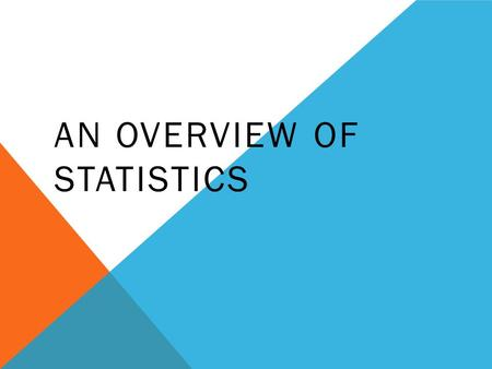 AN OVERVIEW OF STATISTICS. WHAT IS STATISTICS? What does a statistician do? Player Games Minutes Points Rebounds FG% Bob 34 32.724 7.6.552 Andy 36 31.521.