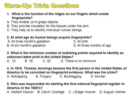 Warm-Up: Trivia Questions