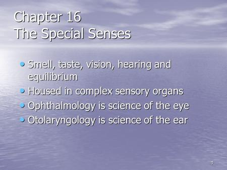 1 Chapter 16 The Special Senses Smell, taste, vision, hearing <strong>and</strong> equilibrium Smell, taste, vision, hearing <strong>and</strong> equilibrium Housed in complex sensory organs.