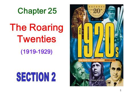 1 Chapter 25 The Roaring Twenties (1919-1929). Why would people be against alcohol? Violence in the family Crime Health problems Financial concerns for.