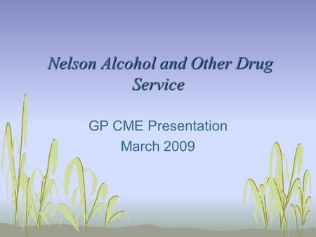 Nelson Alcohol and Other Drug Service Nelson Alcohol and Other Drug Service GP CME Presentation March 2009.
