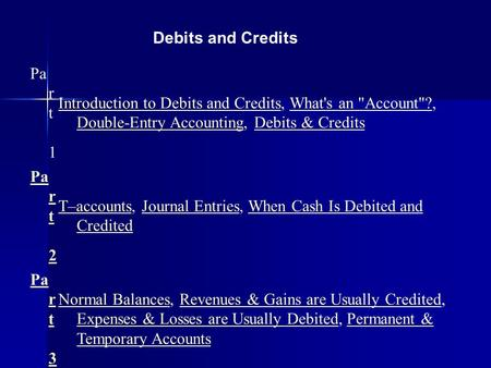 Debits and Credits Pa r t 1 Introduction to Debits and CreditsIntroduction to Debits and Credits, What's an Account?, Double-Entry Accounting, Debits.