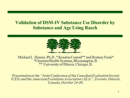 1 Validation of DSM-IV Substance Use Disorder by Substance and Age Using Rasch Michael L. Dennis, Ph.D.,* Kendon Conrad** and Rodney Funk* *Chestnut Health.