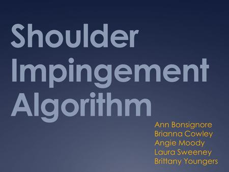 Shoulder Impingement Algorithm
