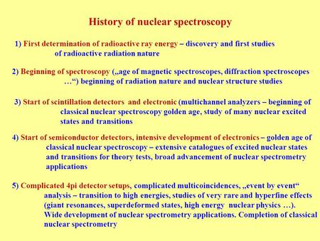 History of nuclear spectroscopy