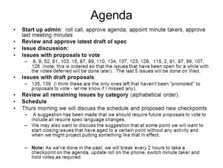 Agenda Start up admin roll call approve agenda appoint minute – Draft Meeting Agenda