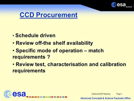 Advanced Concepts & Science Payloads Office Eddicam/EST MeetingPage 1 CCD Procurement Schedule driven Review off-the shelf availability Specific mode of.
